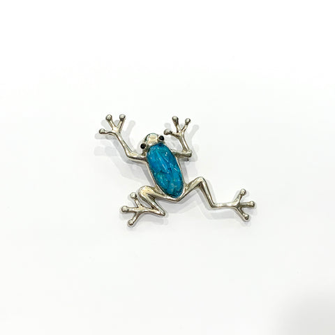 Turquoise and Silver Tree Frog Brooch