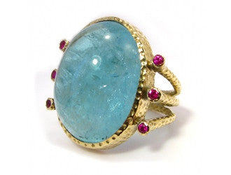 Aquamarine and Ruby Ring