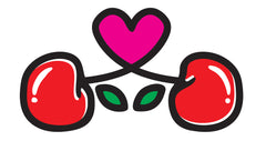 Cherry Pie cut out logo with cherries and a heart