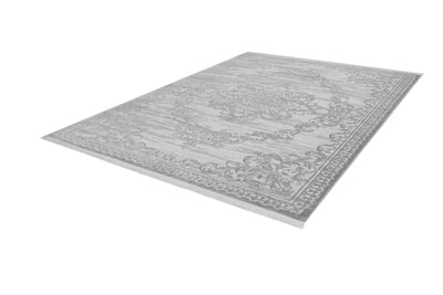 Aleyna 601 Silver Traditional Modern Rug With Centre Medallion - Lalee Designer Rugs