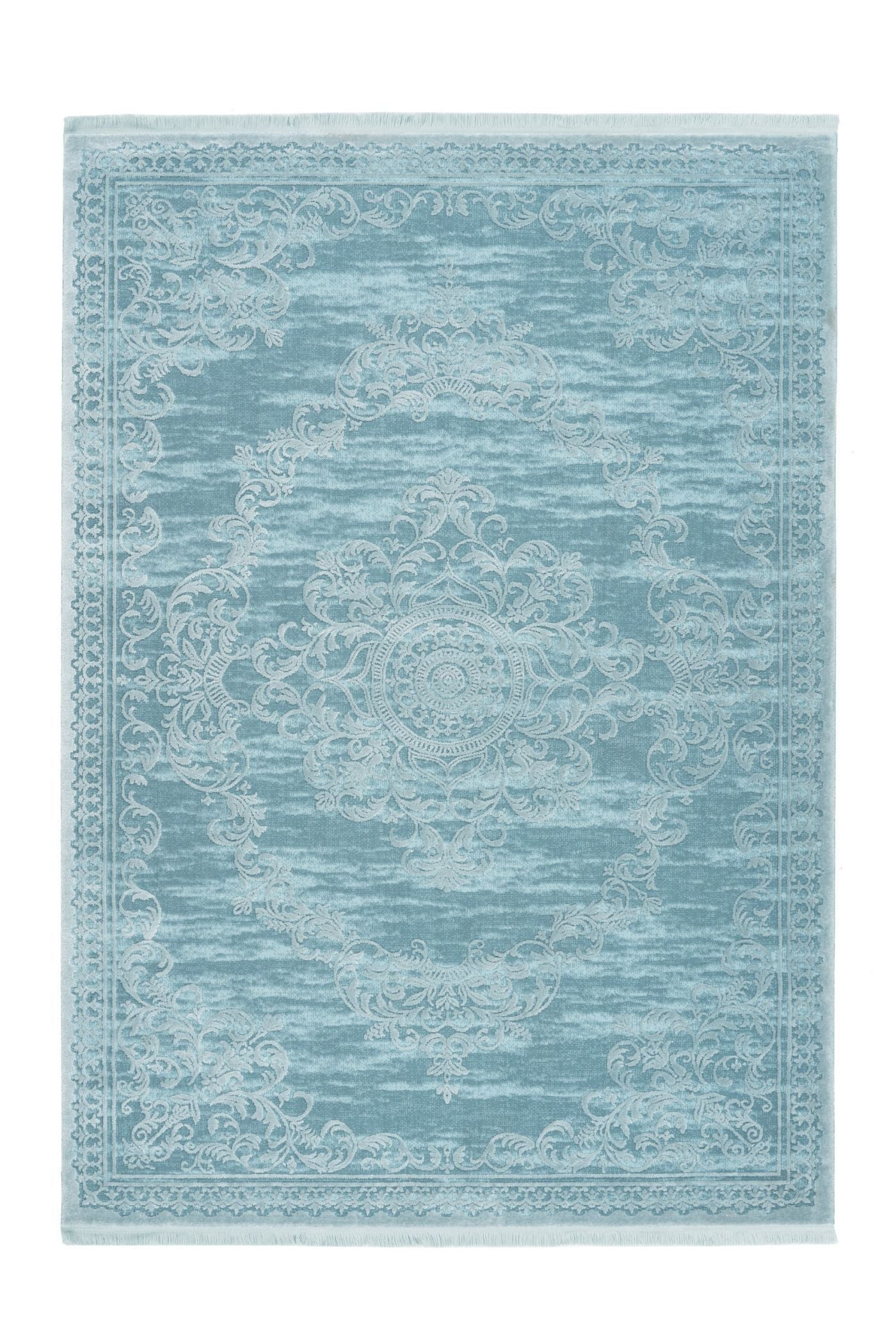 Aleyna 601 Turquoise Traditional/Modern Rug With Centre Medallion - Lalee Designer Rugs