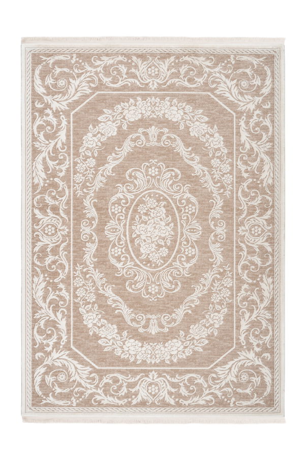 Aleyna 606 Beige Brown Turkish Design Rug With Centre Medallion - Lalee Designer Rugs