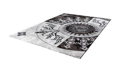 Aura 779 Black and Silver Rug with Circular Floral Design - Lalee Designer Rugs