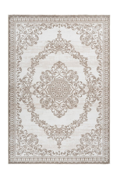 Aleyna 607 Beige Turkish Design Rug With Centre Medallion - Lalee Designer Rugs