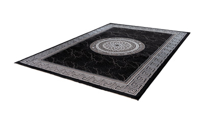 Aura 776 Modern Black Rug with Border and Centre Medallion - Lalee Designer Rugs
