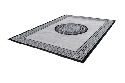 Aura 776 Silver Modern Rug with Border and Centre Medallion - Lalee Designer Rugs