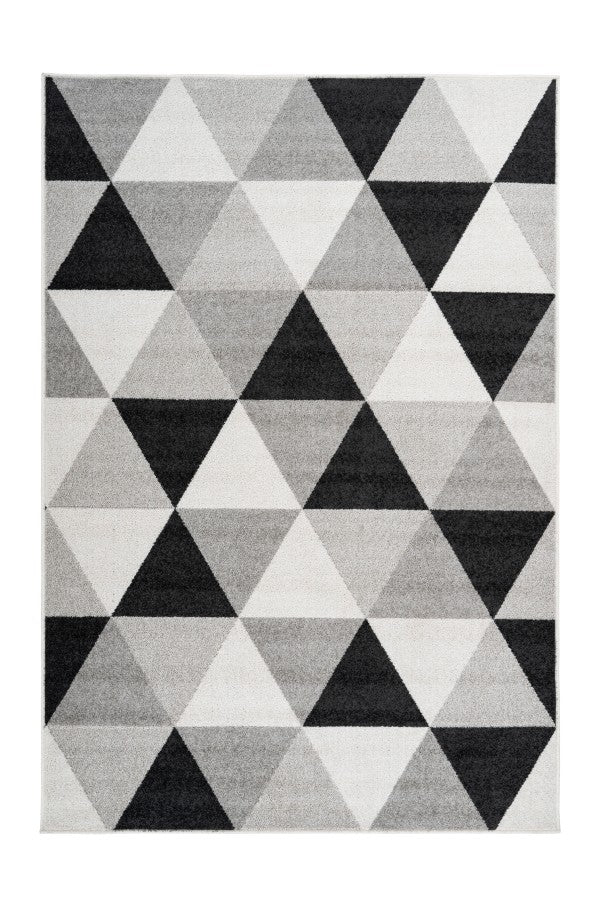 Bravo 300 Silver and Black Geometric Rug - Lalee Designer Rugs
