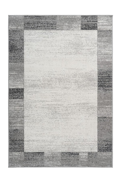 Bravo 305 Plain Ivory Rug with Grey Border - Lalee Designer Rugs