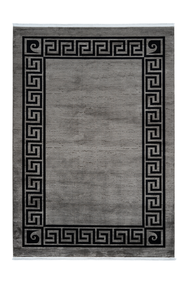 Pierre Cardin - Cardin 900 Grey Acrylic Rug with Black Borders - Lalee Designer Rugs