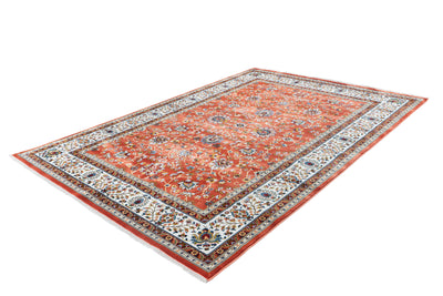 Classic 701 Rust Traditional Rug with Floral Patterns - Lalee Designer Rugs