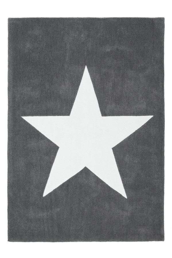 Dream 700 Grey Kids Rug with White Star - Lalee Designer Rugs