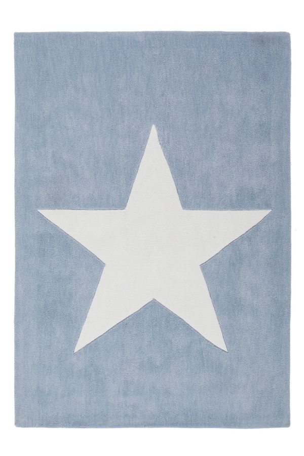 Dream 700 Pastel Blue Kids Rug with white Star - Lalee Designer Rugs