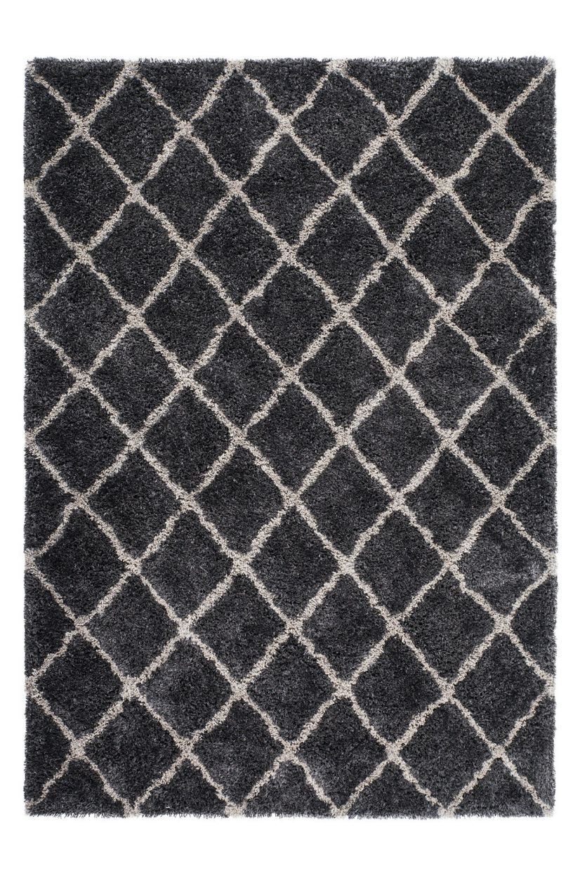 Grace 800 Graphite Diamond Pattern Shaggy Rug - Lalee Designer Rugs
