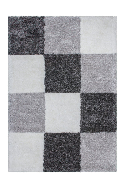 Grace 803 anthracite Checkered Shaggy Rug - Lalee Designer Rugs
