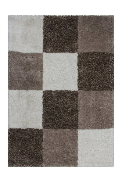 Grace 803 Nougat Checkered Shaggy Rug - Lalee Designer Rugs