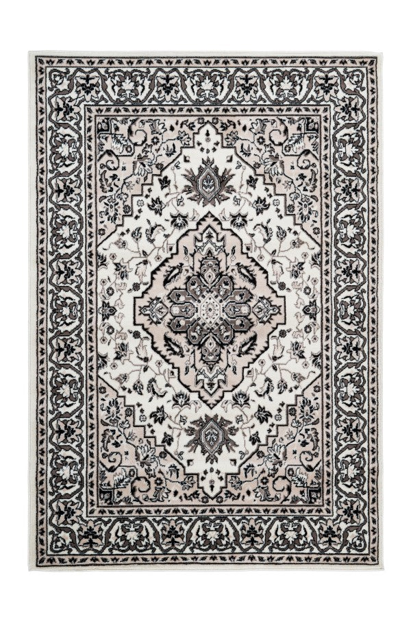 Kairo 301 Traditional Ivory Rug with Centre Medallion - Lalee Designer Rugs