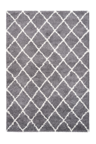 Loft 300 Shaggy Grey Rug with Diamond Pattern - Lalee Designer Rugs