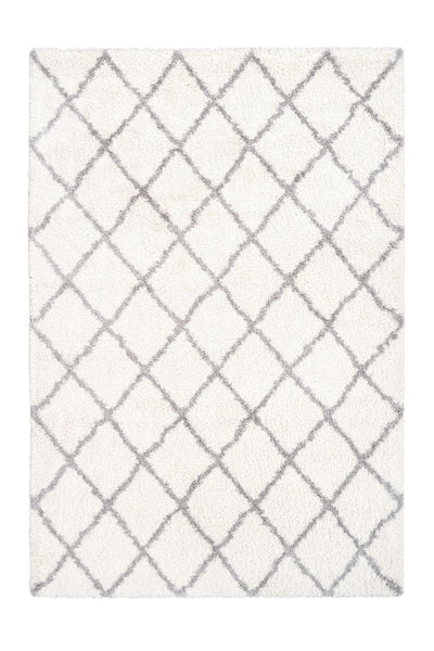 Loft 300 Shaggy Ivory Rug with Diamond Pattern - Lalee Designer Rugs