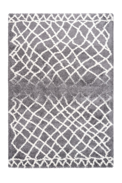 Loft 301 Shaggy Grey Rug with Asymmetrical Lines - Lalee Designer Rugs