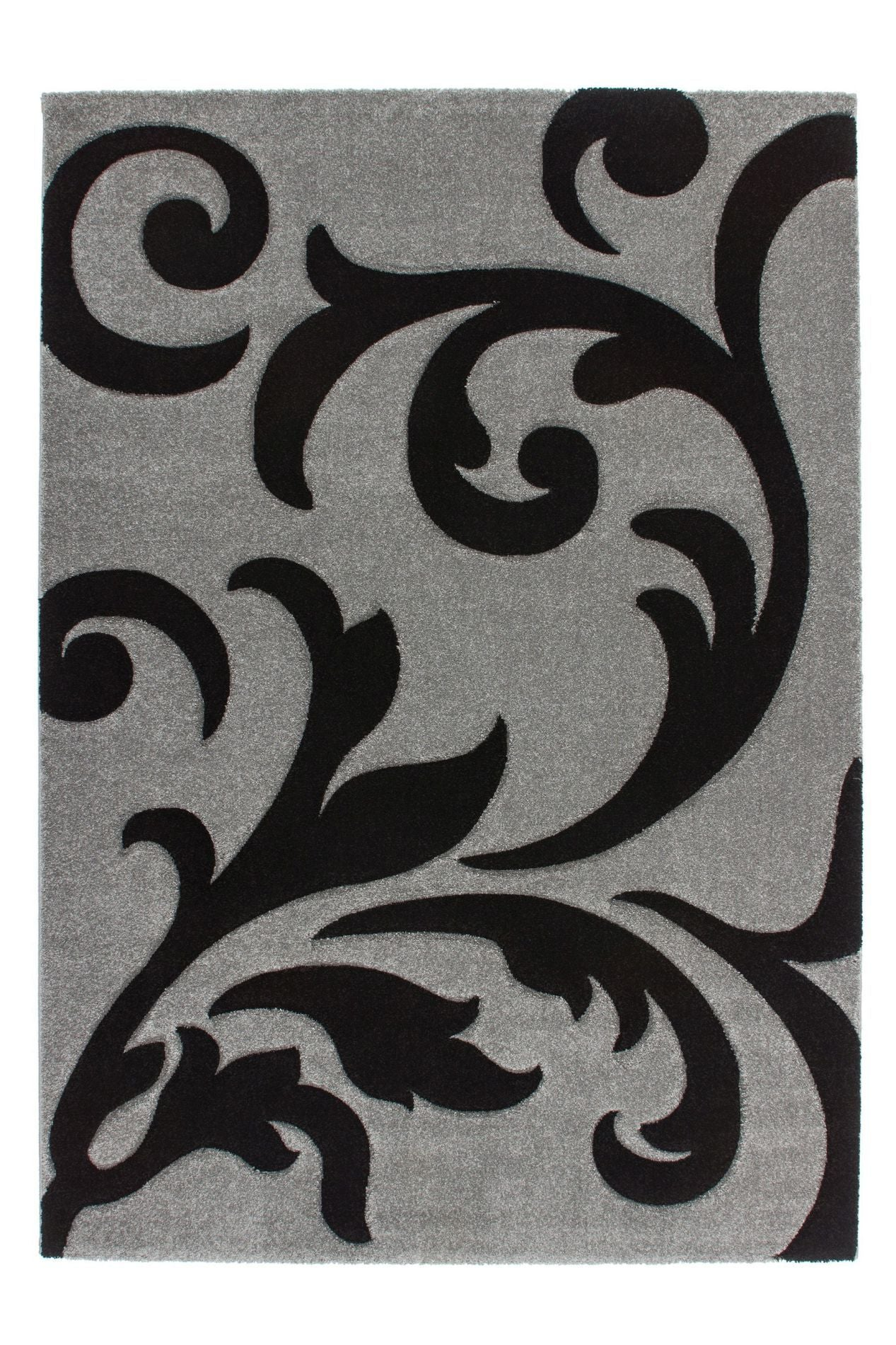 Lambada 451 Thick Silver-Black Rug with Floral Design - Lalee Designer Rugs