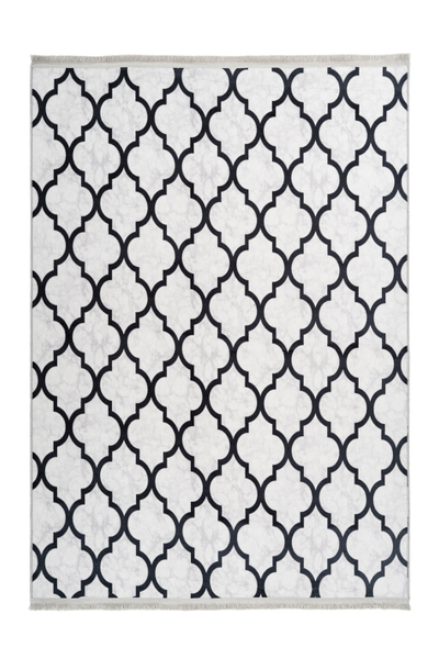 Peri 101 Machine Washable Grey with Moroccan Design - Lalee Designer Rugs