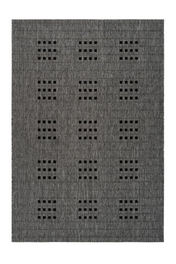 Sunset 606 Outdoor and Kitchen Silver Rug with Dice Spotted Design - Lalee Designer Rugs
