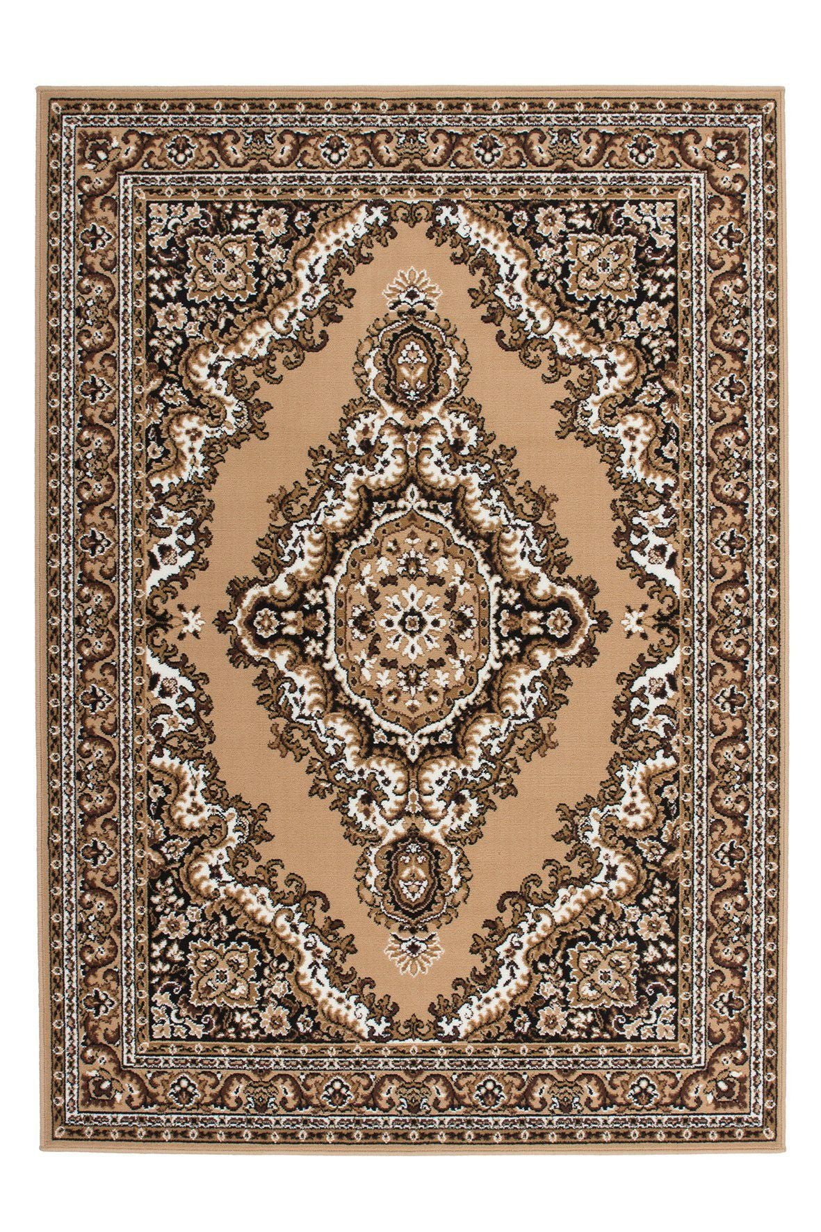 Sahara 102 Cheap Traditional Beige Rug with Centre Medallion - Lalee Designer Rugs