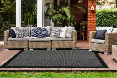 Sunset 608 Outdoor and Kitchen Silver Rug with Sisal Black Border Design - Lalee Designer Rugs