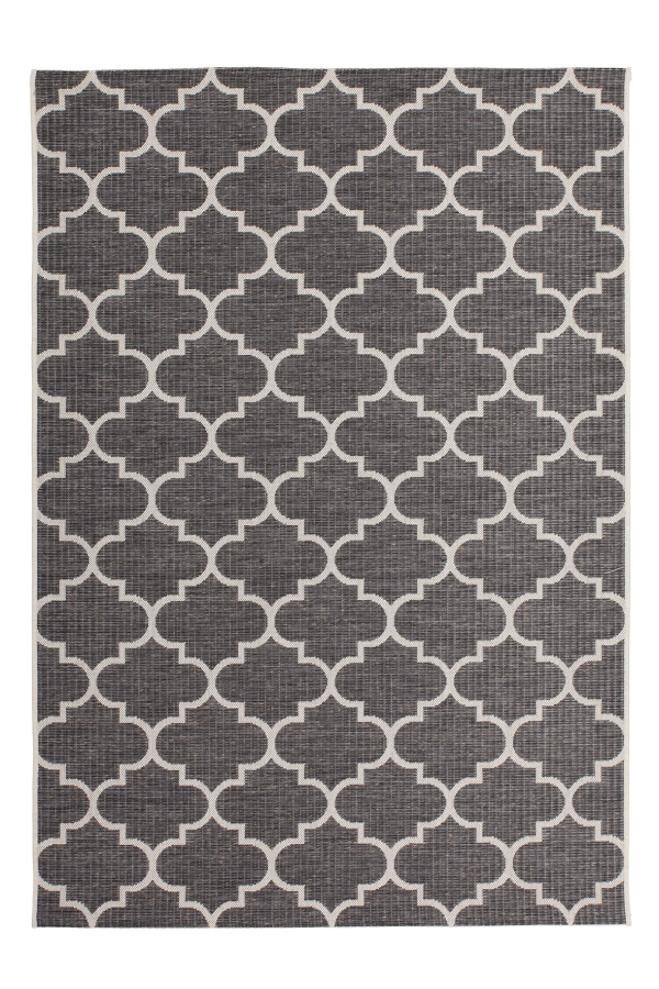 Sunset 604 Outdoor and Kitchen Grey Rug with Moroccan Design - Lalee Designer Rugs