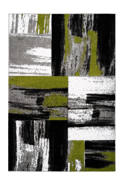 Swing 100 Modern Green and Black Rug with Checkered Design - Lalee Designer Rugs