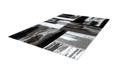 Swing 100 Modern Silver and Black Rug with Checkered Design - Lalee Designer Rugs