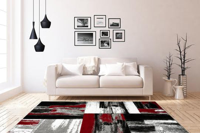 Swing 100 Modern Red and Black Rug with Checkered Design - Lalee Designer Rugs