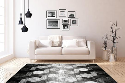 Swing 101 Modern Silver Rug with Geometric 3D Design - Lalee Designer Rugs