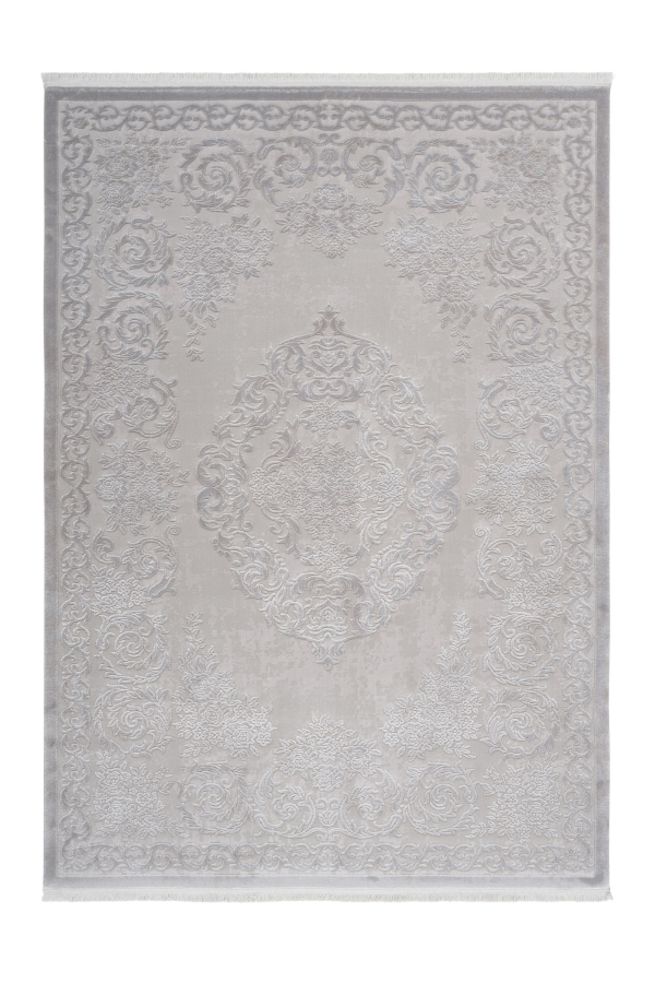 Noblesse 900 Luxury Silver Rug with Centre Medallion - Lalee Designer Rugs