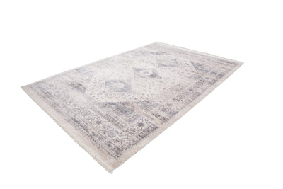 Vintage 703 Faded Silver Rug with Medallions - Lalee Designer Rugs