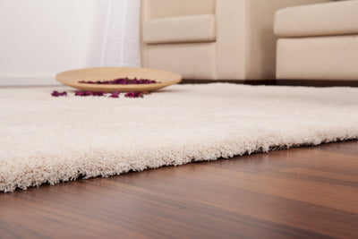 Velvet 500 Shaggy Plain Ivory Rug with Soft Touch - Lalee Designer Rugs