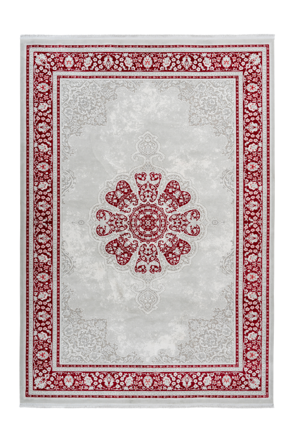 Pierre Cardin - Villette 702 Luxury Red Rug with Floral Centre Medallion - Lalee Designer Rugs