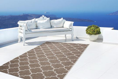 Sunset 604 Outdoor and Kitchen Beige Rug with Moroccan Design - Lalee Designer Rugs