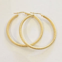 GOLD FROSTED HOOP EARRINGS
