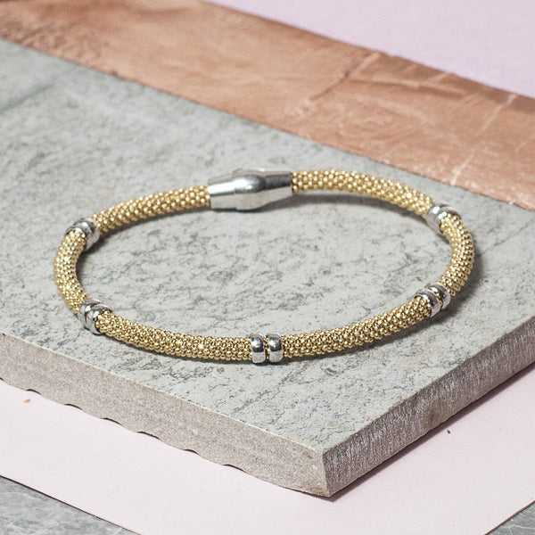 DIAMOND CUT GOLD BRACELET WITH SILVER BARS