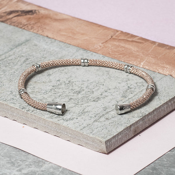 DIAMOND CUT ROSE GOLD BRACELET WITH SILVER BANDS