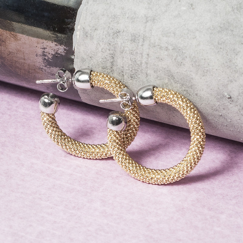 SMALL DIAMOND CUT GOLD HOOP EARRINGS