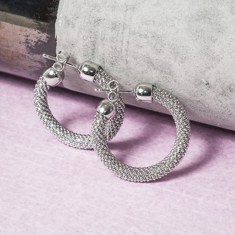 SMALL DIAMOND CUT SILVER HOOP EARRINGS
