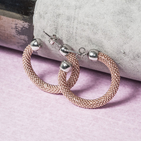 SMALL DIAMOND CUT ROSE GOLD HOOP EARRINGS