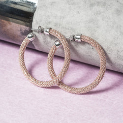 MEDIUM DIAMOND CUT ROSE GOLD HOOP EARRINGS