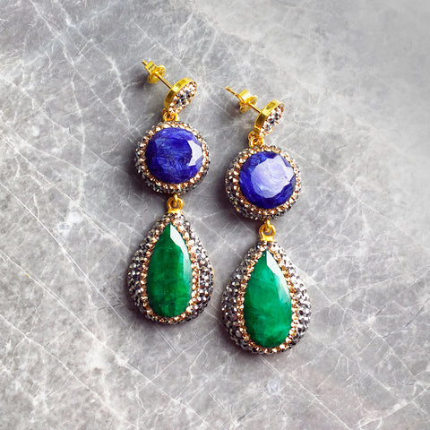 DOUBLE SAPPHIRE AND EMERALD CHANDELIER EARRINGS