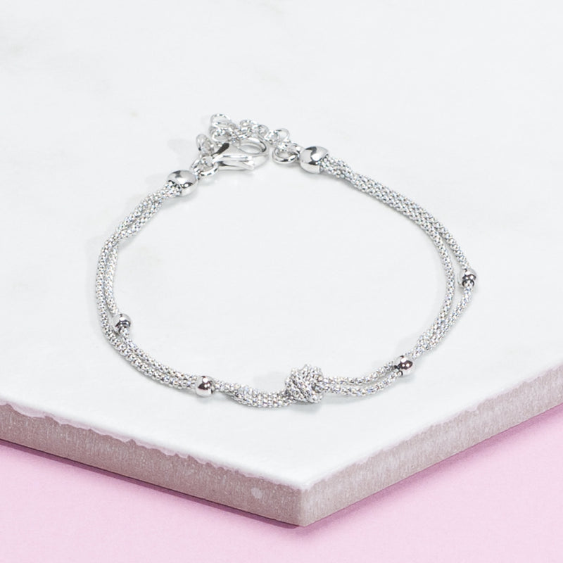 SILVER DOUBLE KNOT AND BALL BRACELET