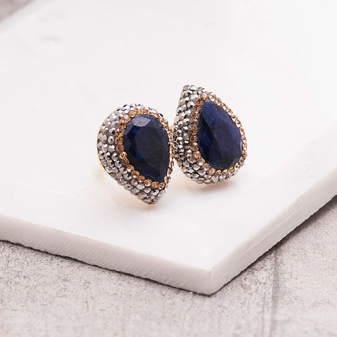 DOUBLE SAPPHIRE AND CRYSTAL RING