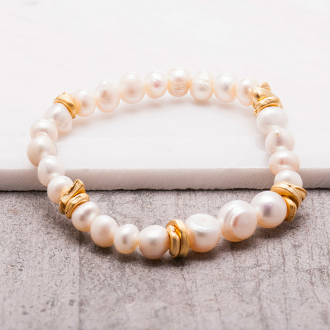 PEARL AND GOLD BEADED BRACELET