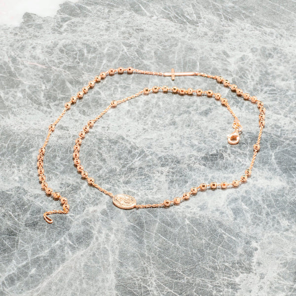 ROSE GOLD ROSARY BEAD NECKLACE